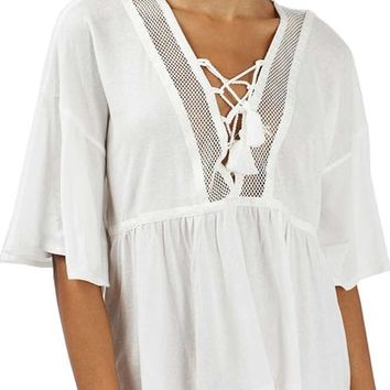 Topshop Lace-Up Cotton Top | Nordstrom