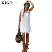 Women Casual Dress Mini Sleeveless Bohemian White Lace Dress Boho Clothing Loose Patchwork Dress Plus Size Women Clothing A4098