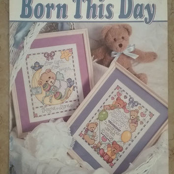 Leisure Arts Cross Stitch Born This Day Pattern Booklet Joan Elliot Design Works  Cross Stitch Sewing Pattern Retro