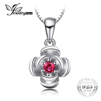 JewelryPalace Promise Love Rose-In-Bloom Created Ruby Women Pendants 925 Sterling Silver Charms Brand Fine Jewelry Without Chain