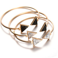 Fashion Gold Plate Black White Turquoise Geometric Triangle Open Cuff Punk Bracelet Bangle Faux Marble Stone pulseras from India