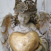 Wall Angel statue sculpture shabby chic hand painted distressed holding heart home decor Anita Spero