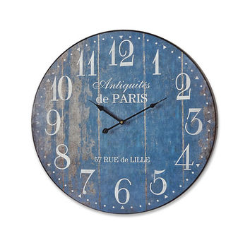 ANTIQUITE Shabby Chic Blue Wall Clock 24x24 Inches