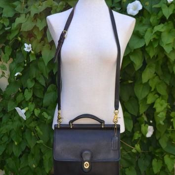 Vintage 80s COACH Genuine Black leather CROSSBODY Structured Hand Bag Purse