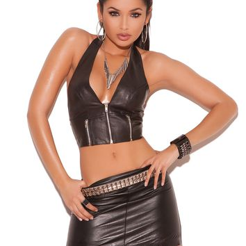 Leather Pencil Mini Skirt