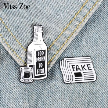 Newspaper Wine bottle Enamel pin FAKE news TOOK DRUNK brooch Bag Clothes Lapel Pin Button Badge Jewelry Gift for friends