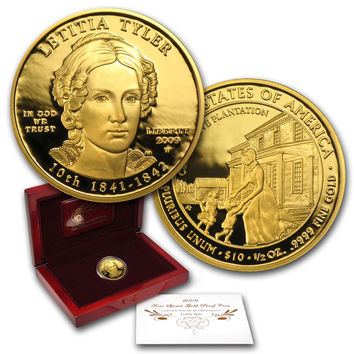 2009-W $10 First Spouse PROOF Gold Coin 1/2 oz Letitia Tyler w Box & Certificate