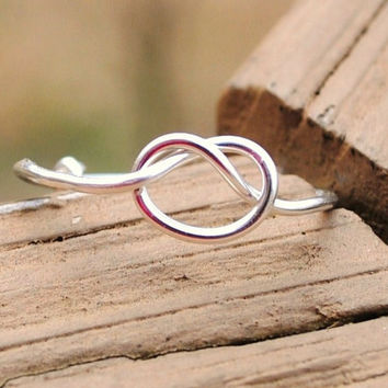 Wire Wrapped Ring Love Knot  Adjustable by KissMeKrafty on Etsy