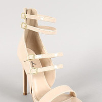 Qupid Patent Multi-Strap Buckle Open Toe Heel Size: 6, Color: Nude