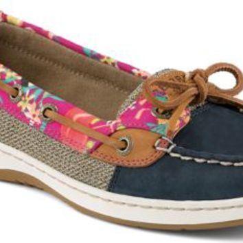 Sperry Top-Sider Angelfish Flamingo Floral Slip-On Boat Shoe Navy, Size 7.5W  Women's Shoes
