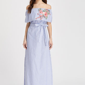 Blue Striped Off Shoulder Embroidered Belted Maxi Dress