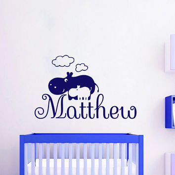 Wall Decals Personalized Name Decal Vinyl Sticker Hippos Clouds Boy Baby Children Nursery Bedroom Room Decor Home Playroom Art Murals MN515