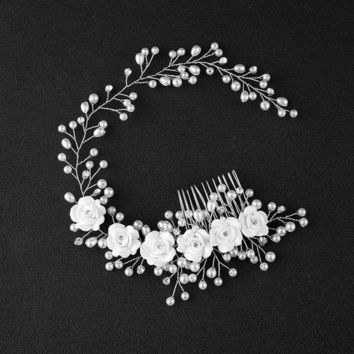 MDIGON Girl Bridal Faux Pearl Flowers Wedding Tiara Floral Headdress Headband Hair Comb