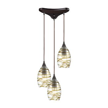 Vines 3-Light Pendant in Oil Rubbed Bronze with Clear Glass with Brown Strip