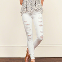 Destroyed High Rise Super Skinny Jeans
