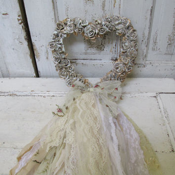 Heart shaped wall wreath carved roses resin white and gold distressed shabby chic fabric lace embellishment home decor anita spero