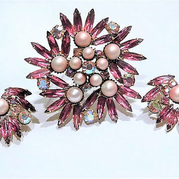 Vintage Pink Rhinestone AB and Faux Pearl Brooch Clip On Earrings Set Demi Parure Mid Century  Hollywood Wedding Bride Bridal Jewelry