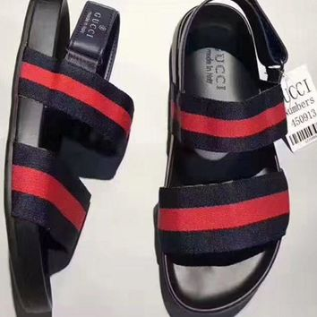 GUCCI Fashion Summer Women Red Blue Stripe Exposed Toe Beach Sandals Slippers Shoes I-CSXY