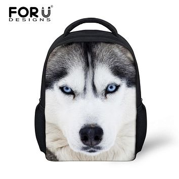 Fashion Children School Bags 3D Animals White Wolf Husky Dog Printing Backpack for Boys Girls Schoolbag Kid Mini Bookbag Mochila