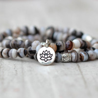 stacking bracelet lotus charm gray bracelet stack yoga bracelet gift for friend boho bracelet set of 3 bracelet stone agate inspiration