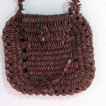 70s BROWN SEEDS tropical artisan sm purse - island vacation handmade stitched macrame flower - artsy unusual unique kids id change pouch
