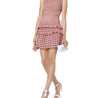 Crosshatch Frill Mini Dress