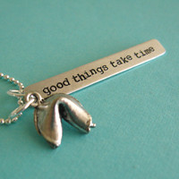 Fortune Cookie Necklace - Personalized fortune - silver plated fortune cookie custom necklace
