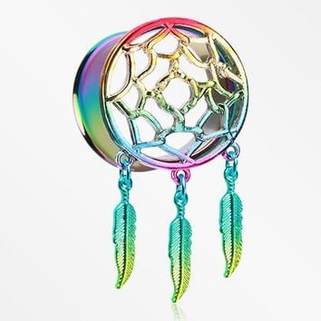 A Pair of Rainbow Dreamcatcher Feather Dangle Ear Gauge Plug