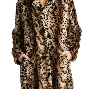 BB Dakota Bradshaw Leopard Faux Fur Coat