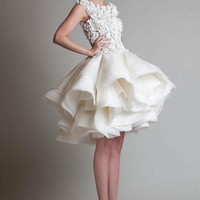 fashion luxury cocktail dresses 2017 new appliques lace beaded organza coctail gown for formal short prom party abendkleider