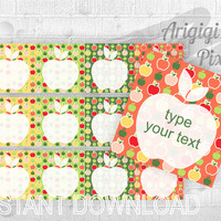 Type Your Text Lunch Box Note, editable lable, square label, apples, printable note card, party favor tag, gift wrap, jar decor, download