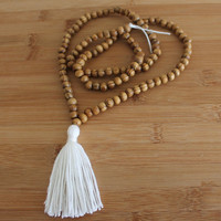 "Sale Ivory Yoga Necklace Mala Yoga Tassel Necklace Wooden Bead Necklace Meditation Prayer Beads Yoga Beads Wooden Beadwork 33"" Loop"