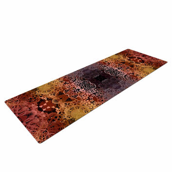 "Pia Schneider ""Floral Fall Pattern"" Maroon Floral Yoga Mat"