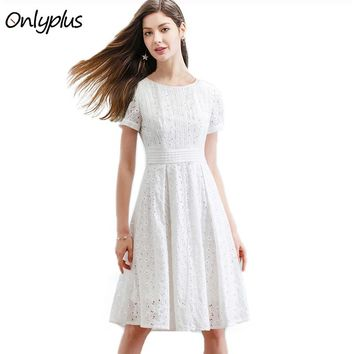 ONLYPLUS S-XXL White Lace Dress Party Cute Women Short Sleeve Elegant Knee Length Dresses Slim Hollow Out Stitching M