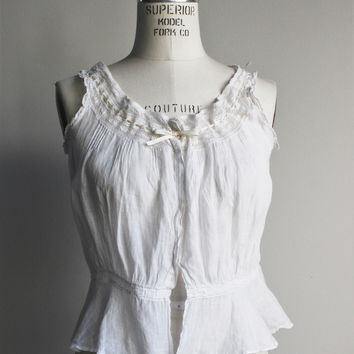 Vintage Edwardian - Victorian Corset Cover, Monogrammed with Lace and Ribbon Trim