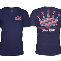 ASA Alpha Sigma Alpha American Royalty Crown Navy Sorority Tee Tshirt