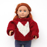 Red Hand Knit Sweater with White Heart for 18 Inch Fashion Doll, Heart Doll Pullover, Handmade Sweater for Dolls, Red Winter Doll Clothes