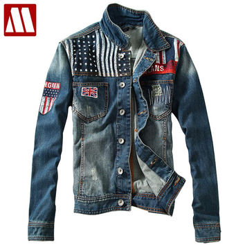 Men Denim Jacket Men Distressed jackets Denim Biker Jeans Coat Washed Stitching Contrast Color jacket