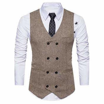 men formal tweed check double breasted waistcoat retro slim fit suit jacket 1