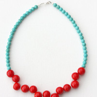 Red turquoise beaded necklace , semi precious stone glass jewelry ,minimal