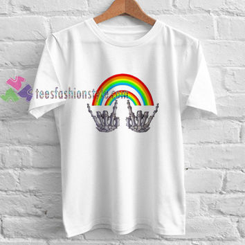 Rainbow Skeleton Hand Rock t shirt gift tees unisex adult cool tee shirts