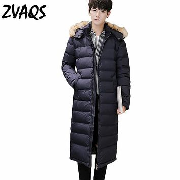 ZVAQS 2017 Winter Jacket Men Warm Down Jacket Casual Hooded Thick Zipper  Parkas Hombre Invierno Handsome Winter Coat CJ114