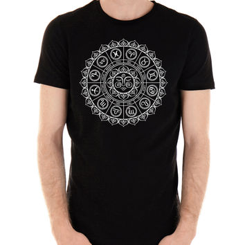 Zodiac Sun Wheel Medallion T-Shirt Alternative Clothing Astrology Signs Horoscope