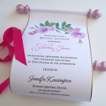 Bridal shower invitation scroll with watercolor roses, pink and lavender