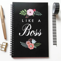 Writing journal, spiral notebook, sketchbook, bullet journal, black and white, floral , blank lined or grid paper - Like a boss