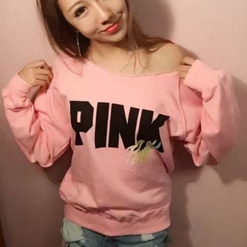 DCKKID4 Victoria's Secret LOVE PINK Women's Fashion Letter Print Strapless Long-sleeves Pullover Tops T-shirt