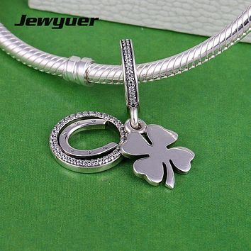 Lucky Day flower dangle Charms 925 Sterling Silver pendant Bead Fit charm Bracelet DIY For Jewelry Making Jewyuer DA194