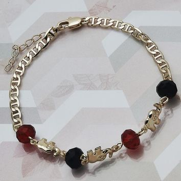 Gold Layered Women Elephant Fancy Bracelet, with Garnet Crystal, by Folks Jewelry