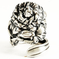 Spoon Ring Carnation Sterling Silver by Baker Manchester, Handmade & Adjustable to Your Size (2943)
