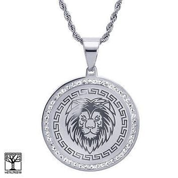 "Jewelry Kay style Men's Stainless Steel King Lion Medallion Pendant 24"" Chain Necklace SCP 469 S"